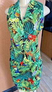 Key West Fashions Parrots  2 piece set top and capri pants tropical print Sm sbc