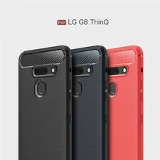 For LG G8 ThinQ Phone Case Shockproof Carbon Fiber Rubber Slim Soft Case Cover