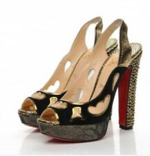 Christian Louboutin Miralep 140 Suede Metallic Strass Pumps Euro 37.5 7.5
