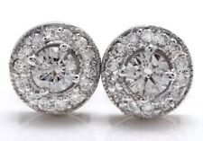 .90 Carat Natural Diamonds in 14K Solid White Gold Stud Earrings