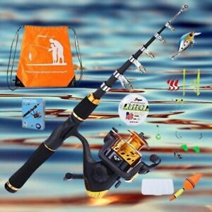 Kids Fishing Pole with Spinning Reels,Telescopic Fishing Rod,Shoulder Pocket