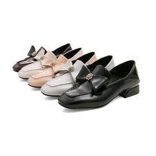 Women Slip On Loafers Bowknot Rhinestone Square Toe Flats Oxford Elegant Shoes
