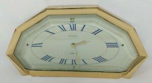 Seiko QSG236G Mantel Shelf Clock Metal Gold Geometric Mid Century Modern VTG