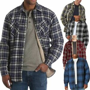 Wrangler Mens Long Sleeve Sherpa Fleece Lined Flannel Padded Shirt Jacket New