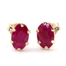 NICE NATURAL RUBY 0.80ct STAMPED 10K SOLID YELLOW GOLD STUDS EARRINGS