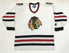 Vintage Starter NHL Chicago Blackhawks Hockey Jersey L White Sewn