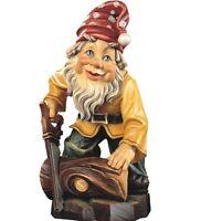 Gnome Leñador CM 10 Grabado en Madera De en Val Gardena Decorado a Mano