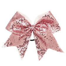 8inch 6pcs/lot Sequin Bling Large Cheer Bow Elastic Band Girls Cheerleading