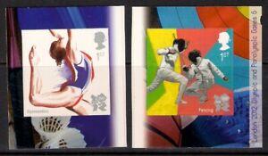GB 2011 sg3206a-b Olympic & Paralympic 6 Gymnastics Fencing self adhesive MNH