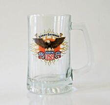 Harley Davidson Motorcycles Beer Stein Glass Made In USA American Bald Eagle