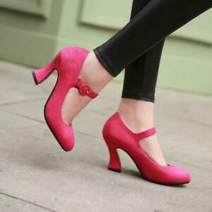 New Women's Casual High Heels Mary Jane Shoes Suede Ankle Buckle Pumps Sandals