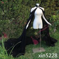 2018 Gothic Black Bridal Jacket Bolero Chiffon Cape Shawl Cloak Wedding Wrap