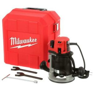Milwaukee Corded Fixed Router Kit Variable Speed 2-1/4 Max HP w Tool Case New