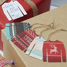 Ginger Ray Navidad 12 Feo Nórdico Jersey Suéter Envoltura Regalo Etiquetas