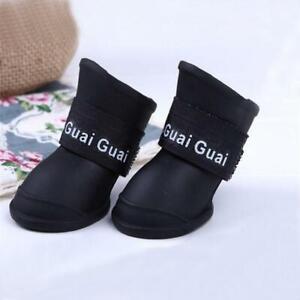 4 Pcs Pet Supplies Dog Cats Anti-Slip Waterproof Shoes Solid Colour Rain Boots