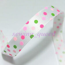 "5yds 3/8"" CUTE PRINCESS FANCY POLKA DOT SATIN ribbon Kids DIY bow crafts YA370"