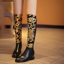 New Winter Sequence Woman Knee High Boots Black SZ 24=US 7.5 RET $399 60% OFF!!!