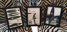 "Set Of Three Framed Photos ""Chanel Surfs Up ' 7 x 5"" Black  Colour Frames"