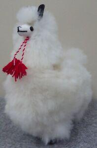 New Handmade in Peru Alpaca Llama Stuffed Animal made with Soft White Alpaca Fur