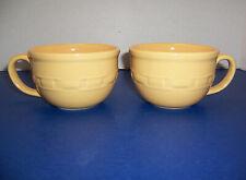 Longaberger Woven Traditions Butternut Yellow 2 Soup Cups Mugs (20 oz) Beautiful