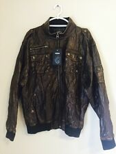 NWT Raw Blue Denim RB Premium Bomber Jacket Faux Brown Leather XL Distressed