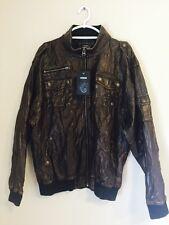NWT Raw Blue Denim RB Premium Bomber Jacket Faux Brown Leather XL Distressed