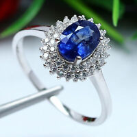 NATURAL 6 X 8 mm. OVAL BLUE SAPPHIRE & WHITE CZ RING 925 STERLING SILVER