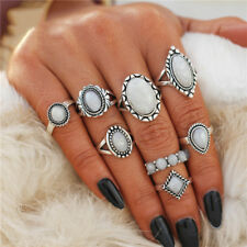 Vintage Opal Knuckle Ring Set Boho Geometric Pattern Flower Ring Banquet Jewelry