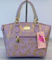 Luv BETSEY JOHNSON Crossbody Satchel Mauve Gold Rose Print Bag Kinlie handbag