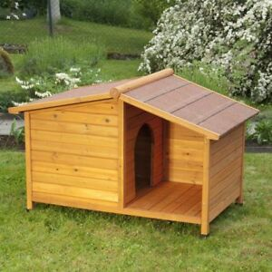 Dog Kennel with Porch Roofed Patio Area Easy to Assemble Made from Spruce Wood