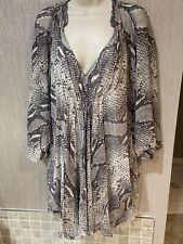 DIANE VON FURSTENBERG Gray snake python print  100% Silk Tunic Dress Size 2