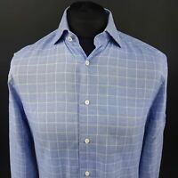 Tommy Hilfiger Mens Formal Shirt 39 15.5 (SMALL) Long Sleeve Blue Fitted Check