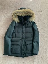 Mackage Womens XS Black Puffer Coat Leather Sleeves Detachable Fur Hood Preowned