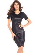Black Vinyl Bodycon Cocktail Night Club Midi Dress Medium