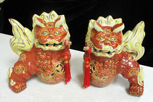 Antique  Pair of Chinese Foo Dogs    15cm or 6 inches High   Excellent Condition
