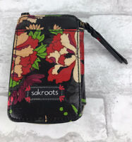 "Sakroots Phone Wallet Zip Around ~ Black Floral ~ Coated Canvas 6X4"""