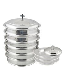 Communion Ware 6 Tray & 3 Stacking Bread Plate +1 Lid Each (Mirror Finish)