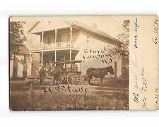 ST1613b: STAGE COACH AT LAYTON NJ STORE (RPPC/postcard 1906 PM)