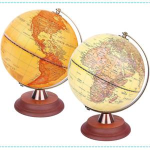 Globe Wooden Stand World Illuminated Antique Vintage Light up LED Lamp