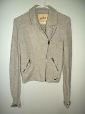 Hollister Hco Cropped Full Front Zip Angora Blend Cardigan Sweater Beige/Gray M