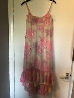 River Island White/Pink Sequin Embellished Floaty Frill Hem Slip Midi Dress Sz6