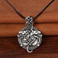 Antique Silver Viking Double Dragon Pendant Necklace