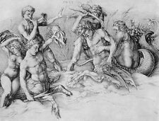 Albrecht Durer: Fighting Seekentauren Chimera Myth Fine Art Real Canvas Print
