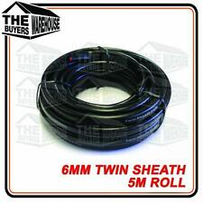 TWIN CORE 6MM CABLE x 5 METRE LENGTH 5M DUAL BATTERY 4X4 12V WIRE SHEATH 2