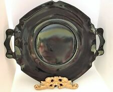 L.E.Smith Glass~Mt. Pleasant Black Amethyst Glass Serving Plate with Handles