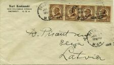 IMPERF - LINE STRIP of 4 on 1928 MICH to LATVIA Cover - Scarce FRANKING & DEST !