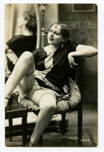 1920s French Risque Nude CUTE FLAPPER underwear Beauty Lady photo postcard
