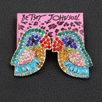 Women's Crystal Rhinestone Cute Little Bird Earbob Betsey Johnson Stud Earrings