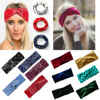 Cashew Flower Boho Headband Women Soft Velvet Twist Elastic Hairbands Sport Yoga