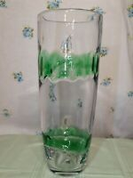 "Abigail Art Glass Hand Blown Vase Beautiful 12-3/4"" Tall Green Rings Around Vase"